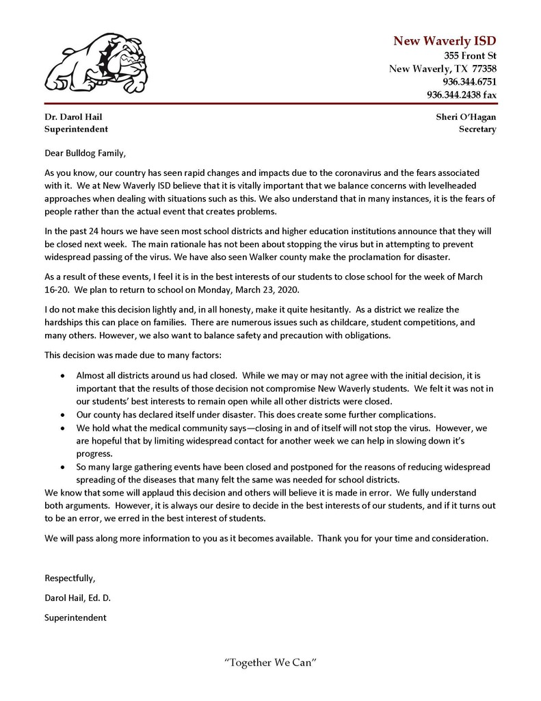 school closure letter
